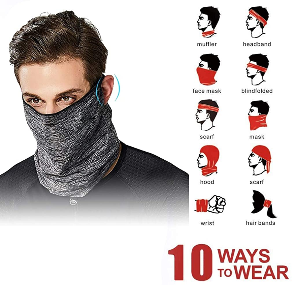 2 Bandana Face Masks w/Ear Loops and Filter Inserts +Free 3PC PM2.5 Filters | Unisex Balaclava for Men Women