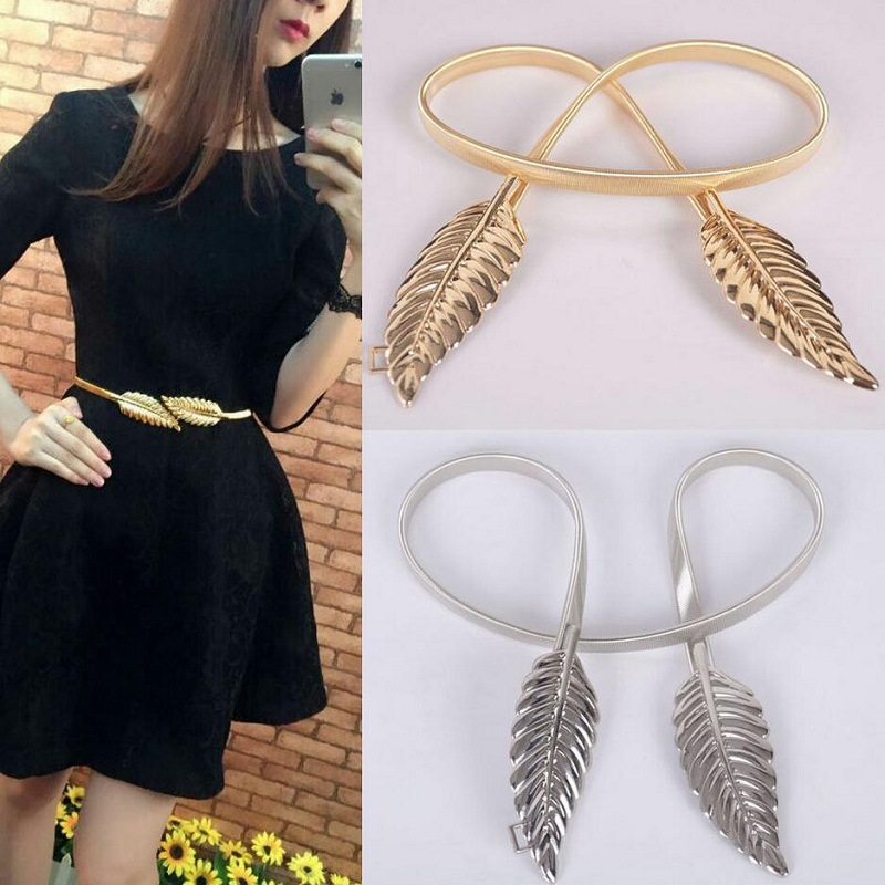 1049890448113 Exquisite elastic Decorative tree leaves to buckle waist chain for Women