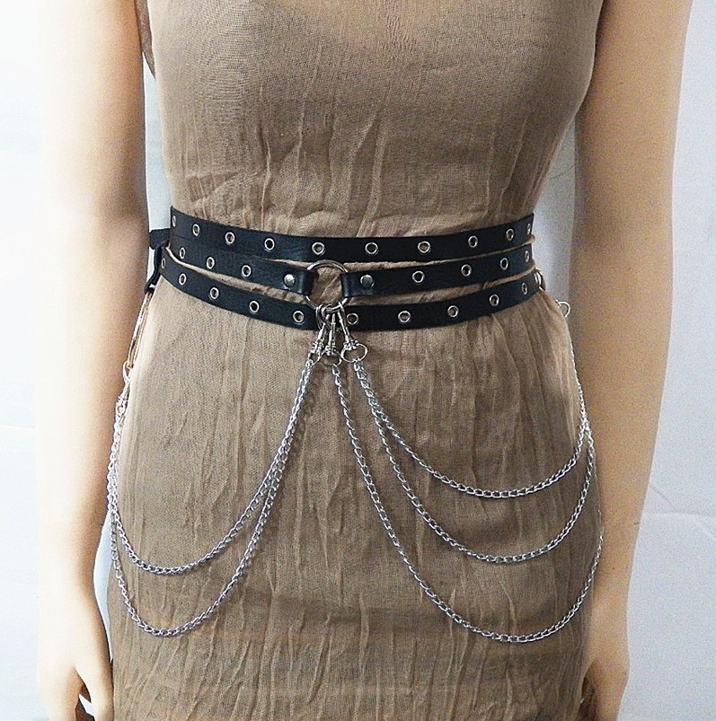 2705595766889 Sexy New Punk Style Concave Shape Waist Chain Female Belt