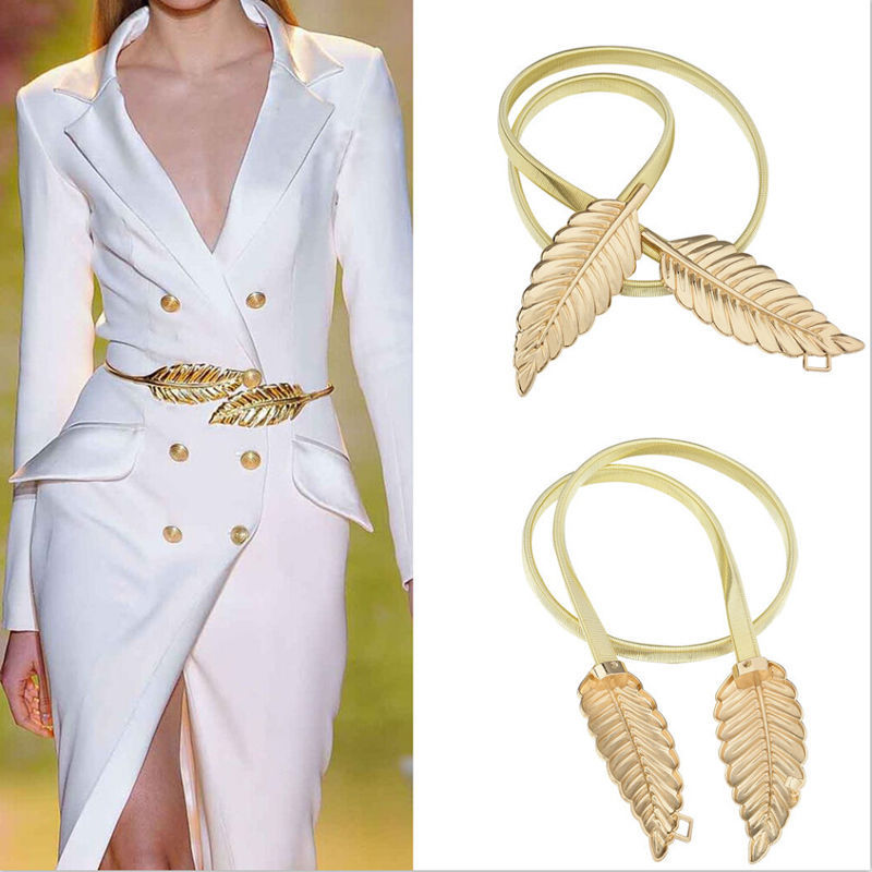 305420668836 Exquisite elastic Decorative tree leaves to buckle waist chain for Women