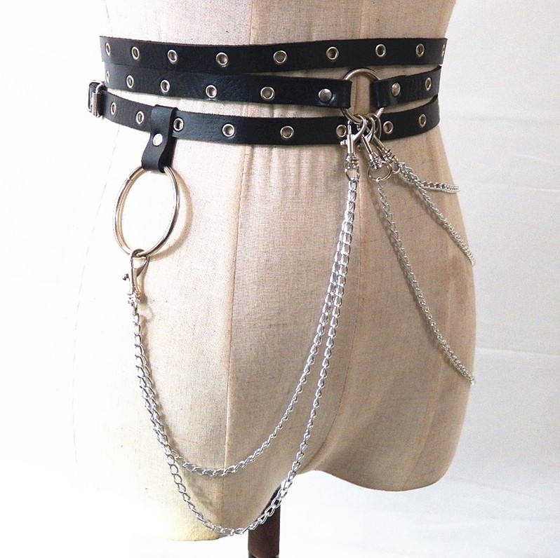 3063349712276 Sexy New Punk Style Concave Shape Waist Chain Female Belt