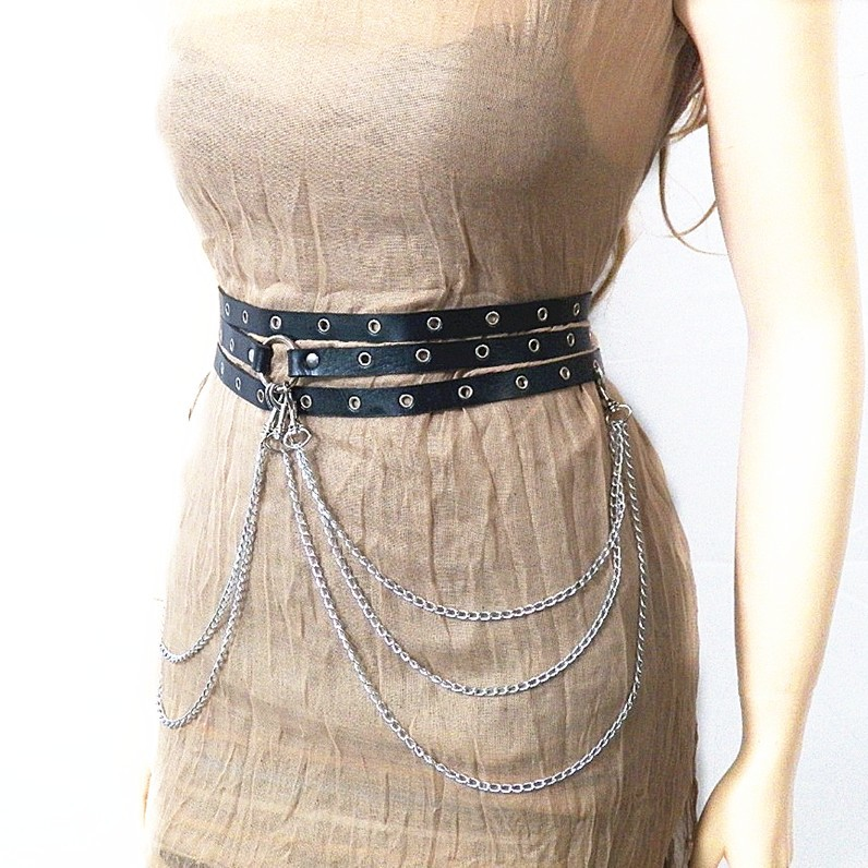 4202090122728 Sexy New Punk Style Concave Shape Waist Chain Female Belt