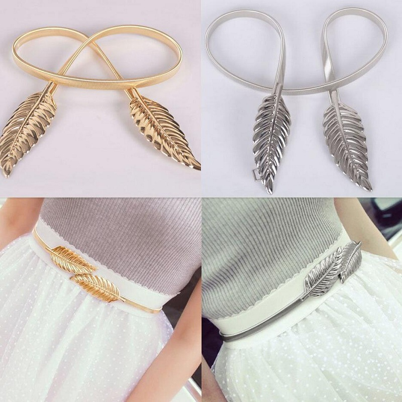 896875392231 Exquisite elastic Decorative tree leaves to buckle waist chain for Women