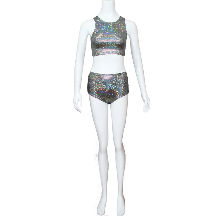 1106768112826 Festival or Rave Queen Holographic Crop Top for women