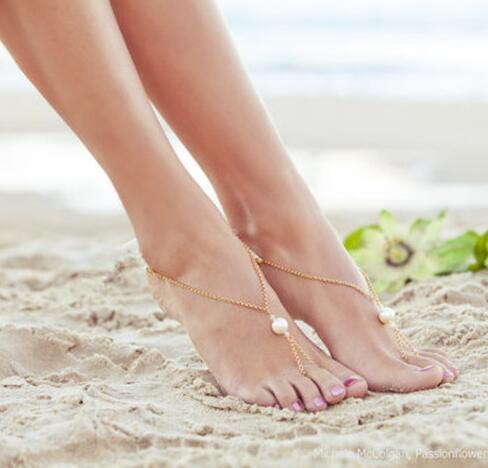 1161413656711 Cute Elegant Big Simulated-pearl Foot Jewelry Anklet Bracelet