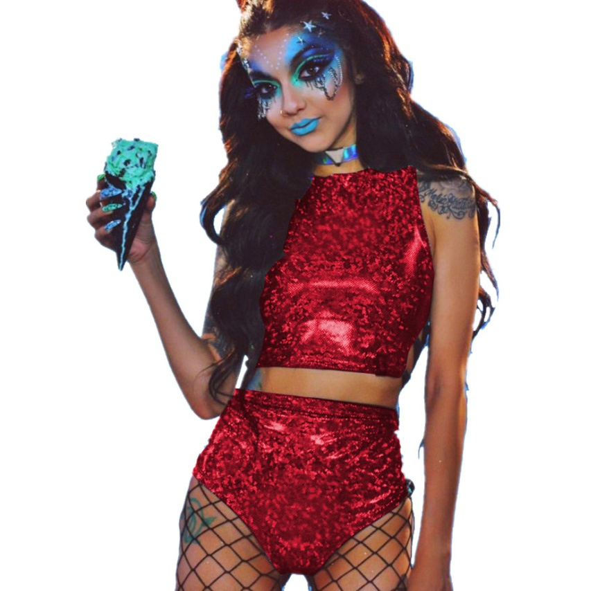 2226087936330 Festival or Rave Queen Holographic Crop Top for women