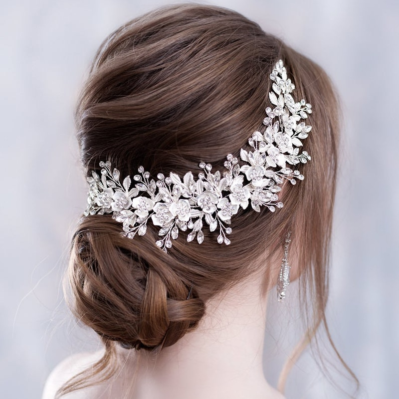 Flower-Headband-Wedding-Hair-Accessories-Silver-Rhinestone-Flower-Bridal-Tiara-Headband-Hair-Comb-Hairpins-Wedding-Hair Latest on Sale
