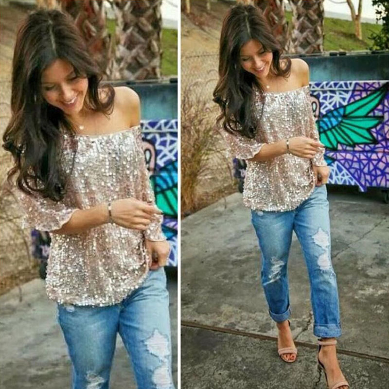 1338929737222 Sexy Women Loose Off Shoulder Sequin Glitter Blouses Summer Casual Shirts