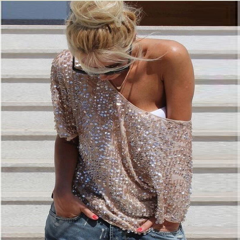 382163154300 Sexy Women Loose Off Shoulder Sequin Glitter Blouses Summer Casual Shirts