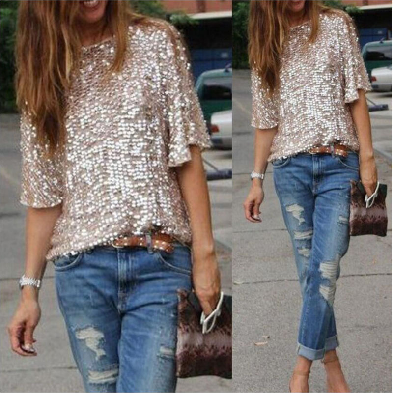 424865702870 Sexy Women Loose Off Shoulder Sequin Glitter Blouses Summer Casual Shirts